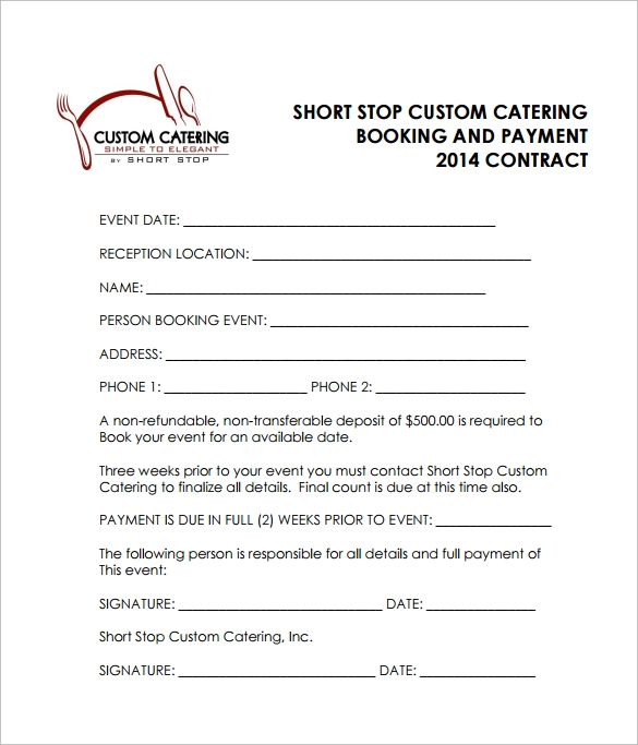 reception catering contract pdf free download1