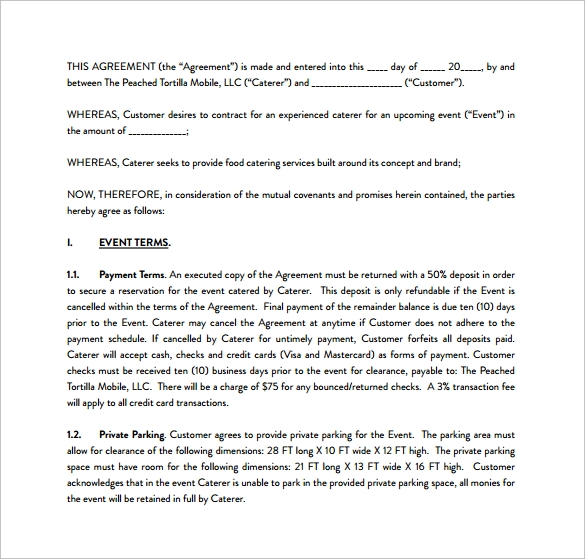 Catering Contract Template   Download Free Documents In Word Pdf