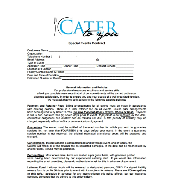 Special Events Catering Contract Free Download In PDF
