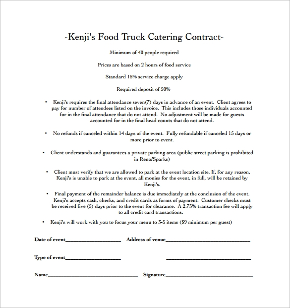 food truck catering contract pdf free download