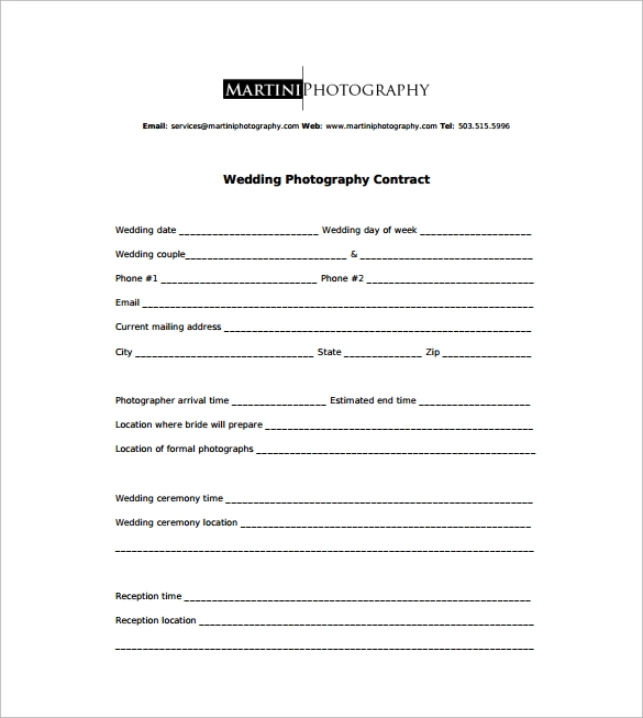 Photography Contract   Download Free Documents In Word Pdf
