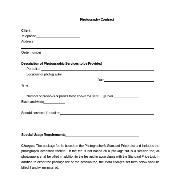 photographer contracts templates - 13 photography contract templates pdf word pages