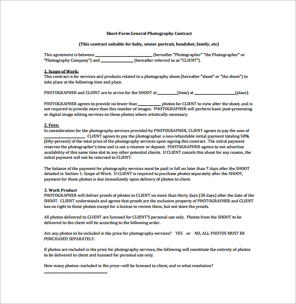 Photography Contract - 9 Download Free Documents in Word, PDF