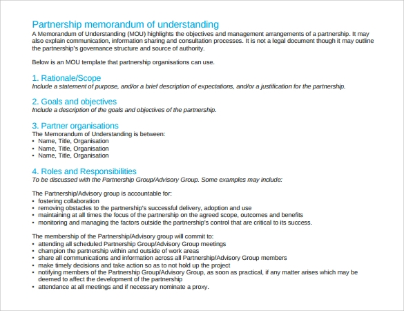 basic memorandum of understanding