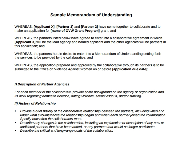 16 sample memorandum of understanding templates to for Template for a memorandum of understanding