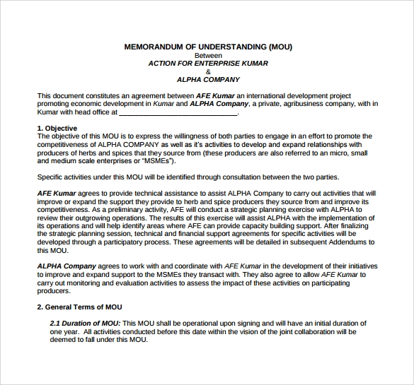 Memorandum Of Understanding Template   Download Free Documents