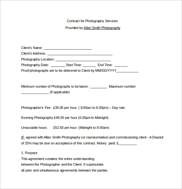 Contract For Photography Services Word Free Download  Contract For Services Template