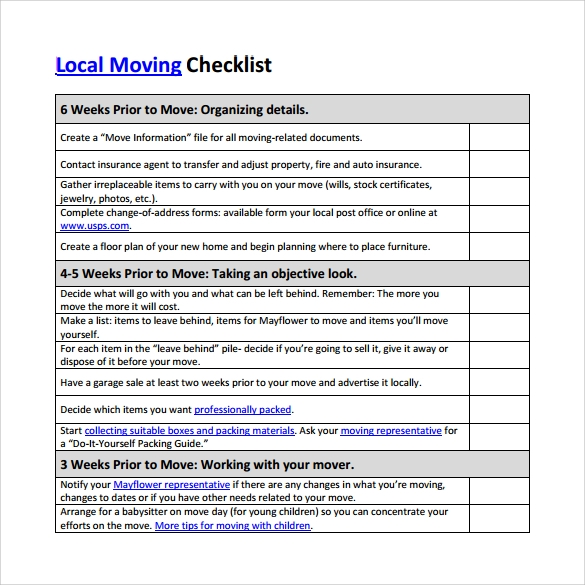 Exhilarating image pertaining to moving checklist printable