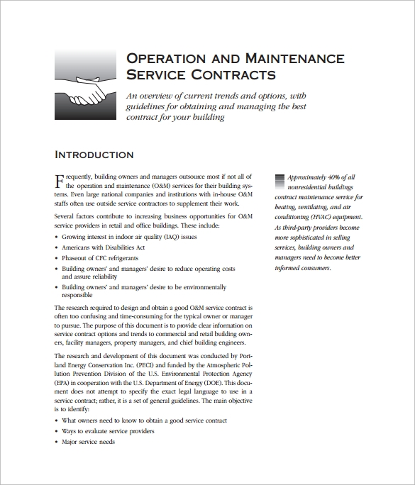 operation and maintenance service contract pdf free download. Resume Example. Resume CV Cover Letter