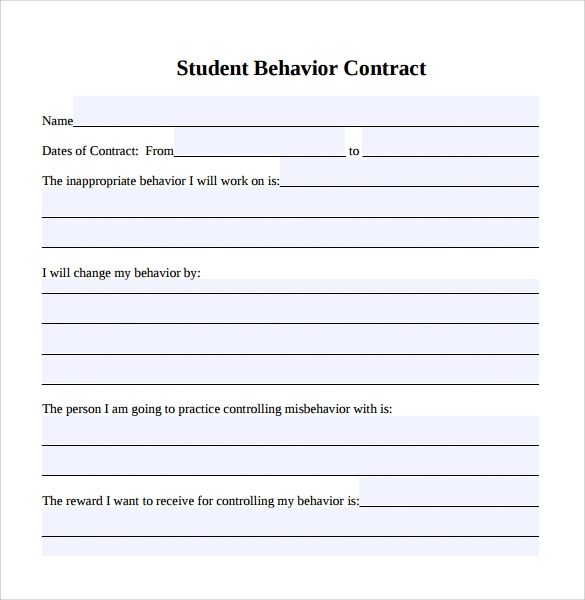 Student Behavior Contract Template  Blank Contract Template