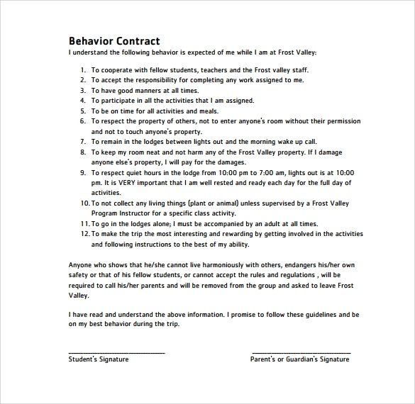 Free Printable Behavior Contracts