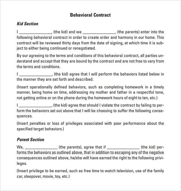 behaviour contract 19 download free documents in pdf doc. Black Bedroom Furniture Sets. Home Design Ideas