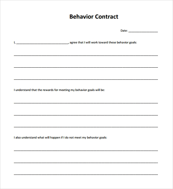 Free Download Behavior Contract Template 32Losoil