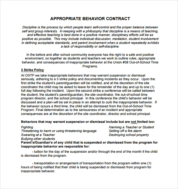 sample behaviour contract 14 free documents download in pdf word