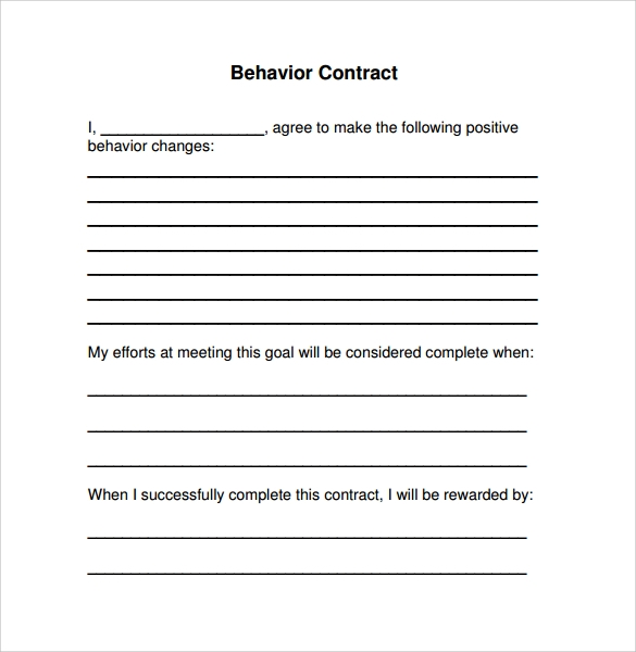 Free 14 Behaviour Contract Templates In Pdf Word