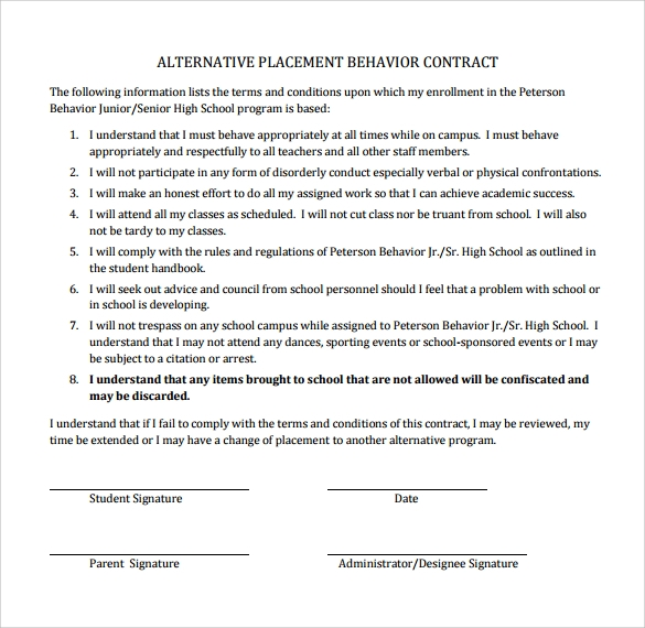 Sample behaviour contract 14 free documents download in for Student contracts templates