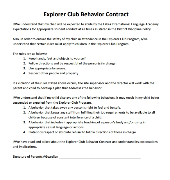 Sample Behavior Contract Template Related Keywords & Suggestions