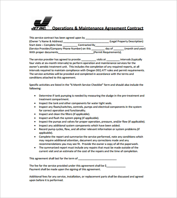 Contract Service Agreement - Simple service agreement template word