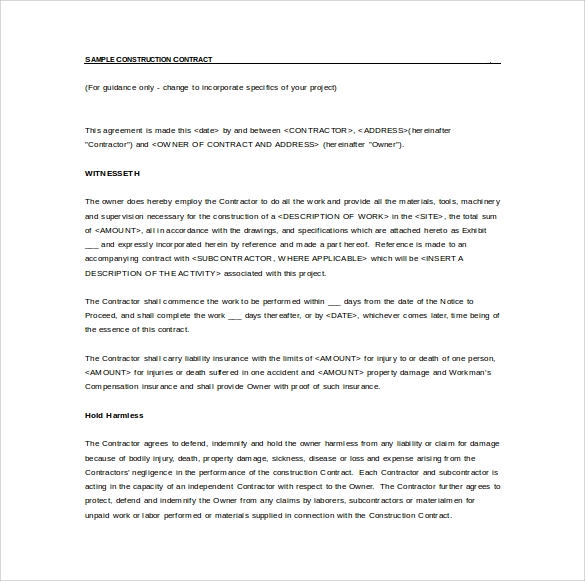 Simple Construction Contract Agreement Templates - Construction contract template doc