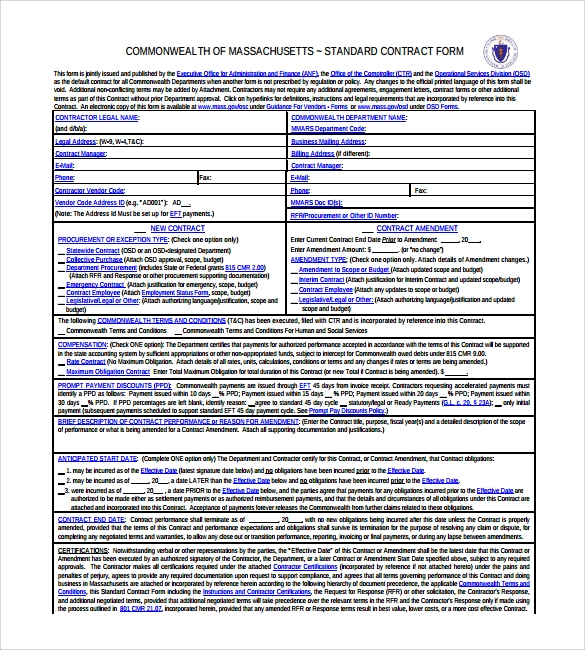 standard legal contract