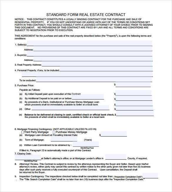 standard real estate legal contract