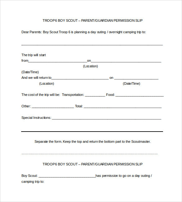 boy scout permission slip word template free download