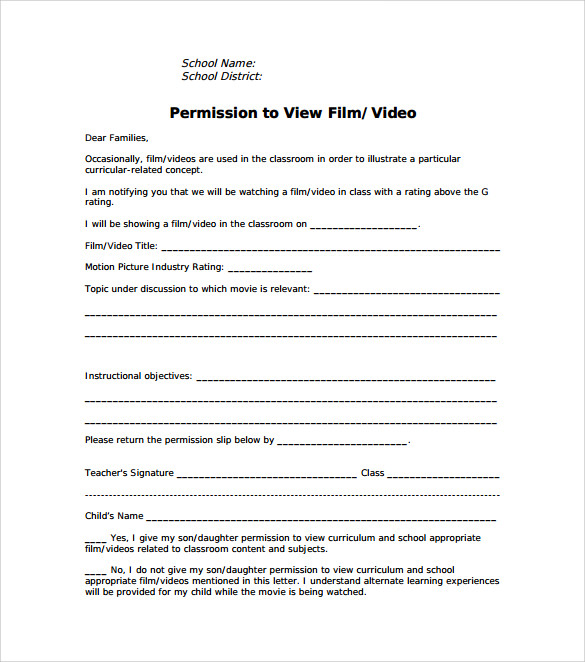 movie permission slip template free download in pdf