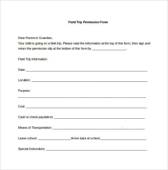 permission slip word template free download