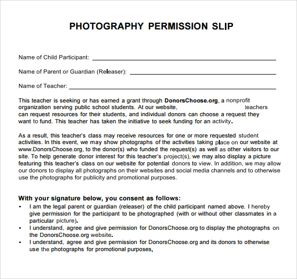 photography permission slip template