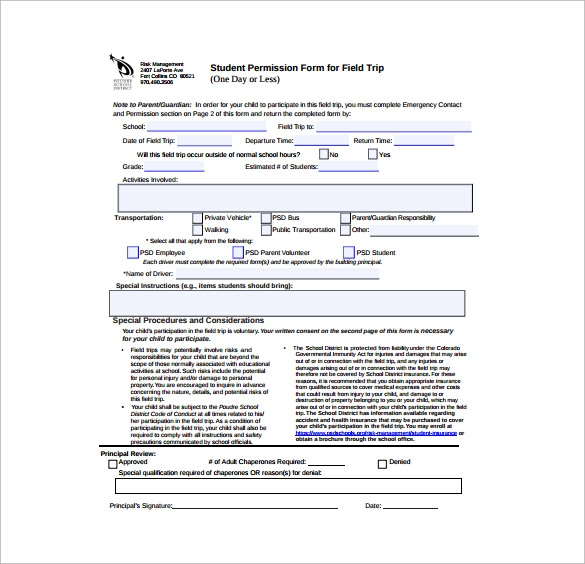 student permission slip pdf template free download