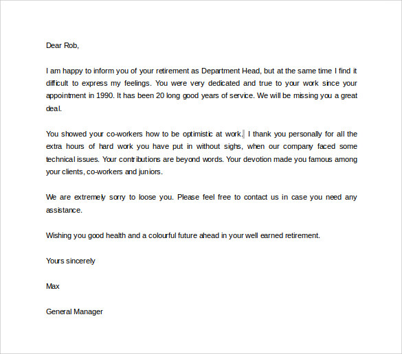 17 sample useful retirement letters to download sample templates retirement letter from employer spiritdancerdesigns Image collections