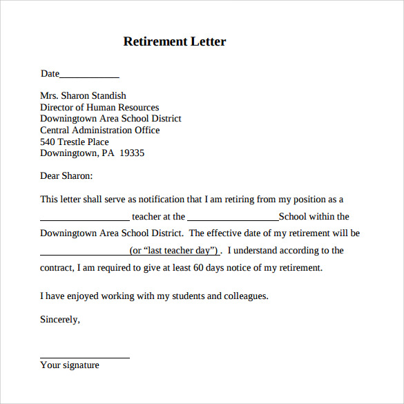 Retirement Letter   Download Free Documents In Pdf Word