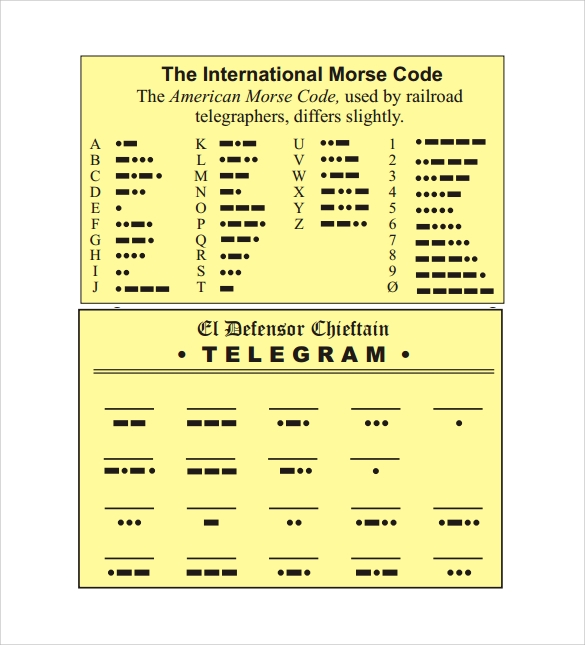 Morse Code Chart to Download