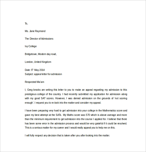 free 12  appeal letter templates in ms word