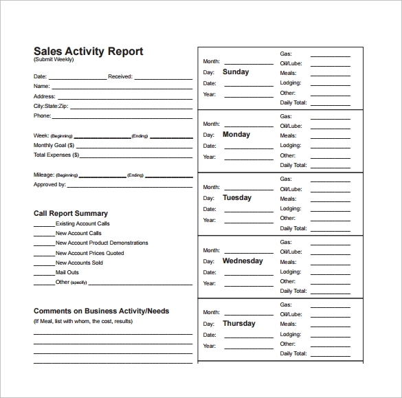 Sample Sales Report Template   Free Documents Download In Word