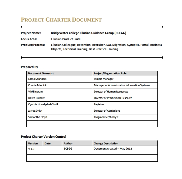 9+ Project Charter Templates | Sample Templates