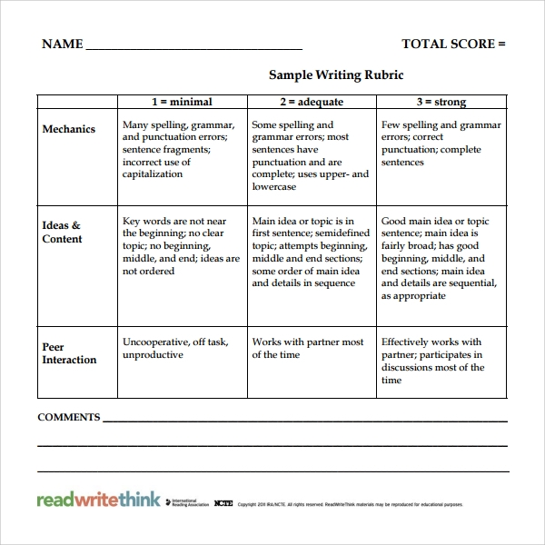 Sample Rubric Template   Free Documents Download In Pdf