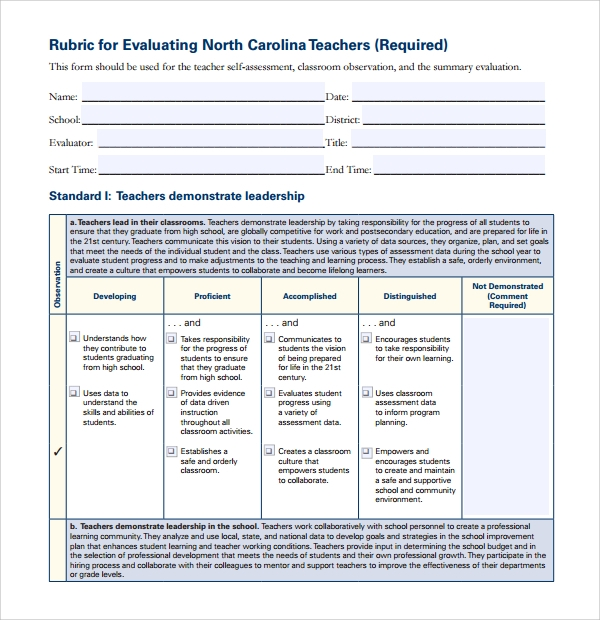 Sample rubric template 6 free documents download in pdf for Rubric maker template