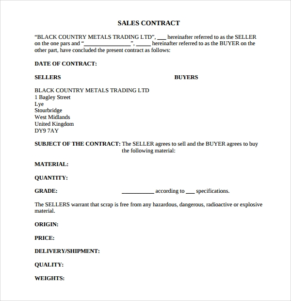 Sample Sales Contract Template   Free Documents Download In Pdf