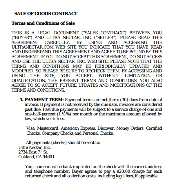 8 sales contract templates sample templates for Sale of goods agreement template