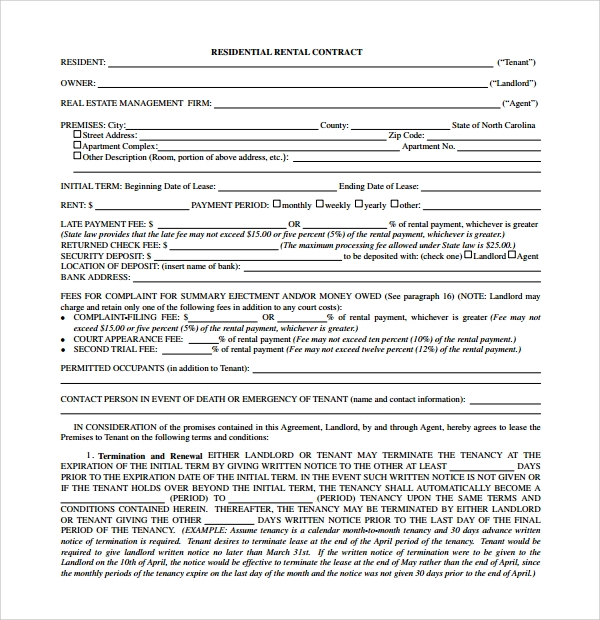 8 rental contract templates sample templates for Housing lease template