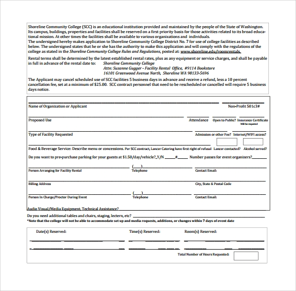 sample rental contract template