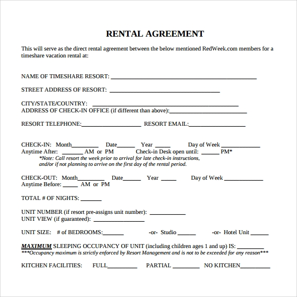 printable rental contract template