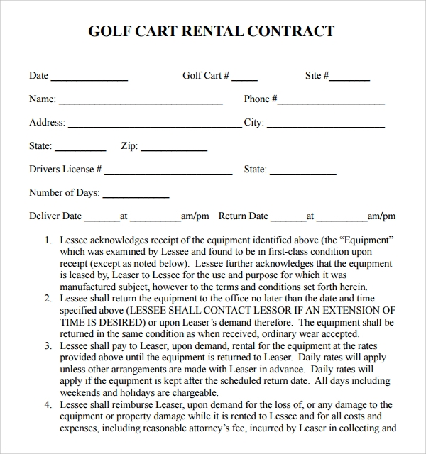 golf cart rental contract