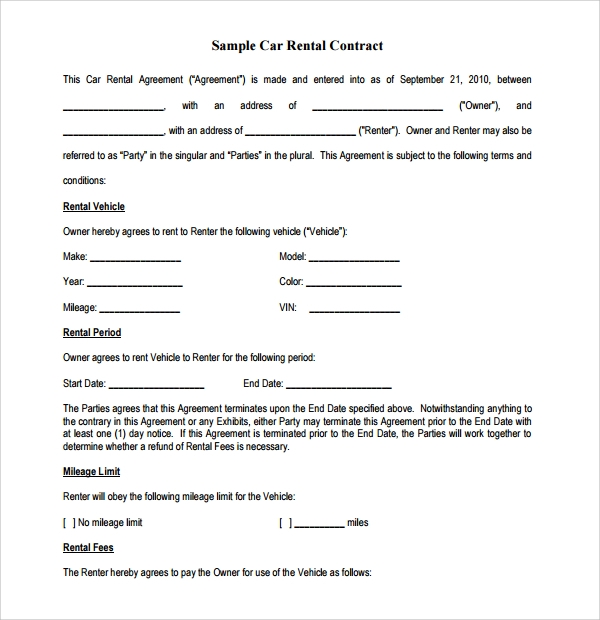 Free 13 Rental Contract Templates In Google Docs Ms Word