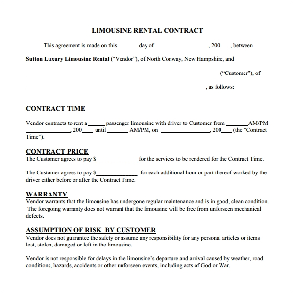 Sample Rental Contract Template   Free Documents Download In
