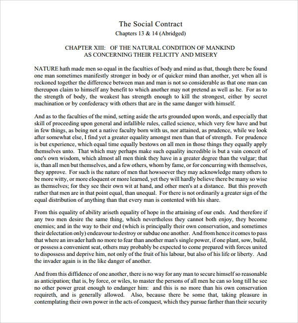 Sample Social Contract Template - 6+ Free Documents Download In
