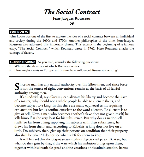 Sample Social Contract Template   Free Documents Download In