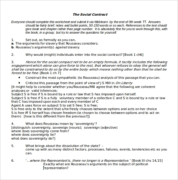 social contract worksheet