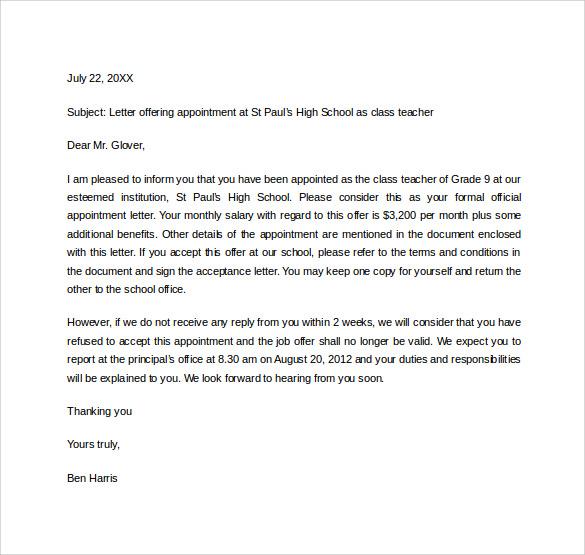confirmation letter for job offer
